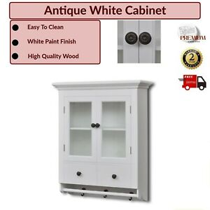 Kitchen Wall Cabinet Glass Door Wooden Drawers Hooks Mugs White Shelves Antique