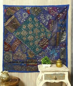 "40*40"" BLUE HANDCRAFTED SARI BEADS SEQUIN VINTAGE DECOR WALL HANGING TAPESTRY"