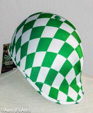 Jockey Helmet Green & White Diamond Pattern Kentucky Derby Costume Hat OS