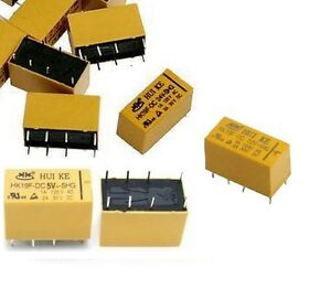 DC Mini Relay Relays 24v, 12v or 5v DPDT 8 Pin 2NO 2NC PCB Type GC-2C-5D / HK19F