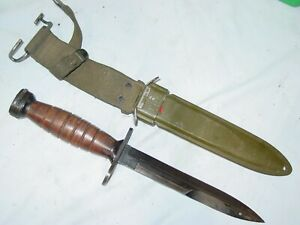 WWII US M1 Carbine Camillus Leather Handle Bayonet Knife & M8 Scabbard