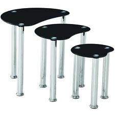 Cara Nest of Tables 3 Units Black Bedroom Side End Table Glass Stainless Steel