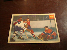 1954-55 Parkhurst Hockey #98 Jacques Plante Protects - High Grade