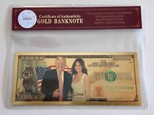 President Donald Trump.. $100 Trillion Bill.. 24K Gold 3D Overlay... With COA