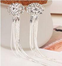 Neu Strass Kristall Lang Quasten Anhänger Lineare Diamant Ohrringe Vogue e @ff