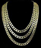 Cuban Link 3 pc Layered Choker Set 14k Gold Plated Hip Hop Men Women Necklaces