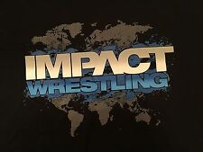 TNA Wrestling Impact Logo T-Shirt XXL 2XL World Map
