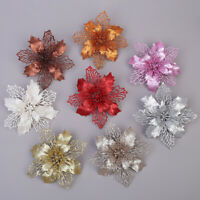 Artificial Flowers Decor Christmas Wreath Tree Ornaments for Home 10pcs Glitter