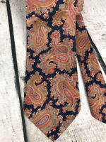 """Vintage 70s Neck Tie Paisley Floral Navy And Red Classic Standard Size 4x58"""""""