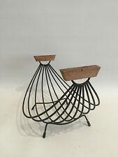 50er Jahre Drahtkorb Obstkorb mit Henkeln aus Teakholz 50s Wire Bowl Design