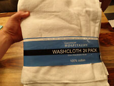 NEW- Grandeur Hospitality Washcloth 24 Count- 13'' X 13'' 100% Cotton-  White