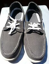 Merona deck shoes mens dark gray size 13 laces comfortable loafers  leather/fabr