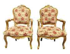 Pair Antique ORNATE French Provincial Louis XV Gold Gilt Velvet ARM CHAIRS