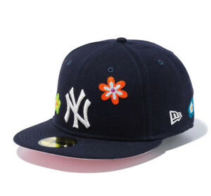 New Era 59Fifty Chain Stitch Floral New York Yankees Cap Pink Visor New