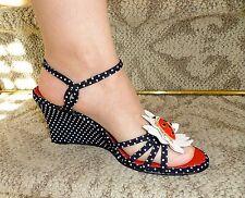 Ramon Tenza Black & White Polka Dot Ladybug Wedge Heel Sandals Shoes 7.5