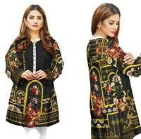 Women's Black Indian Pakistani Kurta by Sufia Fashions®  Cotton Tunic Top Kurti