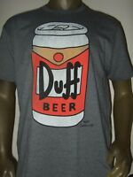 New Men's L-XXL Gray The Simpsons Duff Beer Can Cartoon Matt Groening Tee Shirt