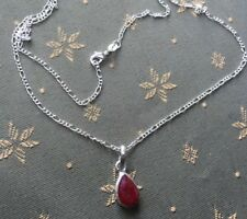 Natural Real Ruby Pear Pendant & Free 925 Silver Chain UK SELLER.NEW