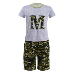 Kids Boys Casual Pajamas Outfits Letter Print Top+Elastic Waist Shorts Sleepwear