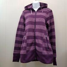 Cabelas SMALL Hoodie Sweatshirt Full Zip Purple Stripe Pockets Hood Thumb Holes
