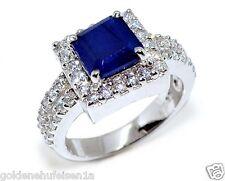 Mitternachts Blauer Saphir Ring 925 Sterling Silber 14k Weissgold Rhodiniert