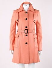 Vtg c.1960s - 1970s Salmon Pink Leather Button Front Belted Jacket Trench Coat