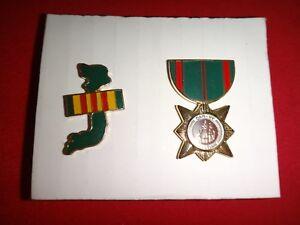 2 Lapel Pins: Map & Flag Of VIETNAM + ARVN Civilian Service Metal Mini Medal