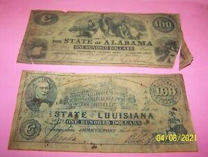 2 CONFEDERATE BANK NOTES - $100. - ALABAMA. LOUISIANA