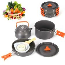 10X Portable Camping Cooking Cookware Set Anodised Aluminium Pots Pans Kettle UK