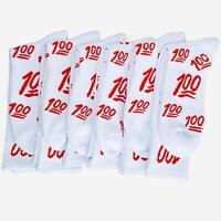 6 Pairs Weed Leaf Keep it 100 emoji Red White Streetwear Unisex Crew Socks