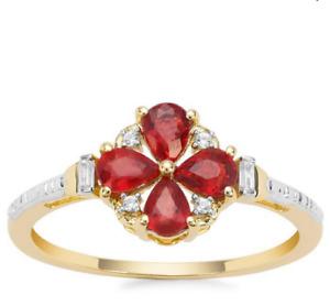 Rare Tanzania Songea Ruby Pear & White Zircon 9K Y Gold Ring Size N-O/7 RRP £285