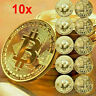 10Pcs Gold Bitcoin Commemorative 2021 New Collectors Gold Plated Bit Coin