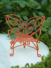 Miniature Dollhouse FAIRY GARDEN Furniture ~ Orange Metal Butterfly Chair Bench