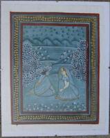 ::BUNT FRAUEN INDISCH BLAU FARBEN BLUMEN WALD FLUSS SITZEN MEDITATION ROT ANTIK