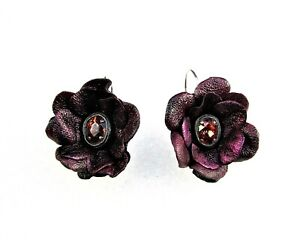 Genuine Leather Flower Earrings-Vintage Faceted Crystal Stone--
