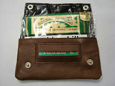 Leather Tobacco Pouch Organizer Brown with Space for Money and Cards
