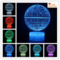 3D Death Star Lamp Star Wars Touch/Remote Acrylic LED Night Light Table Lamp Toy
