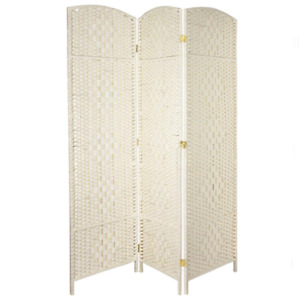 6 ft. White 3-Panel Room Divider  rustic woven fiber folding screen