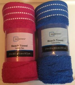 "Beach Towel 100% Cotton Mainstays 27"" x 58"" Cobalt Blue Or Tropical Blossom Pink"