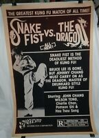 Snake Fist vs. The Dragon one sheet movie poster, 1981, rolled
