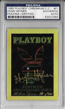 HUGH HEFNER Signed 1995 PLAYBOY CHROMIUM COVER Card Authentic Auto #P1 PSA/DNA