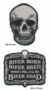 BIKER BORN BRED DEAD SKULL Aufnäher Patches 2 Stück Motorrad Biker Kutte