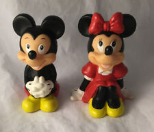 Vintage Rubber Squeeze Toy Mickey & Minnie Sitting Disney Figures 4""