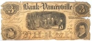 1853 Bank of Yanceyville, Three Dollars paper note! Hand numbered and signed!