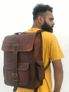 "18"" Large Men's Handmade Leather Travel Shoulder Backpack Laptop Rucksack Bag"