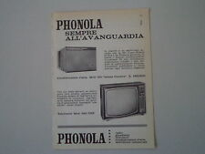 advertising Pubblicità 1961 PHONOLA TELEVISORE 2301 UHF/CONDIZIONATORE