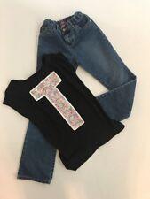 CHILDRENS PLACE Girls Dark Wash Blue Jeans Sz 10 & Embellished T Shirt Size 8/10