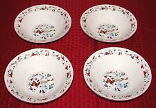 "(4) Farberware White Christmas 7 1/8"" 12 oz. Soup Cereal Salad Bowls - EXCELLENT"