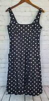Ralph Lauren Black/White Polka Dot Pleated Dress Women's Size 8