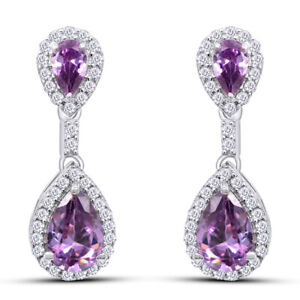 Valentines Day Summer Sale 925 Silver 4.75 Ct Amethyst and White Topaz Earrings